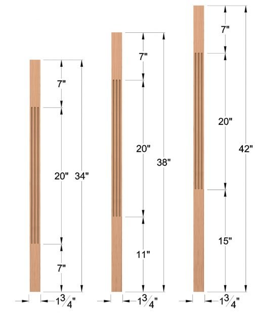 """LJF-5360: 1 3/4"""" Square Fluted Baluster Dimensions"""