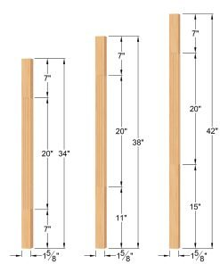 "LJF-5360-H: 1 5/8"" Fluted Square Hemlock Baluster Dimensions"
