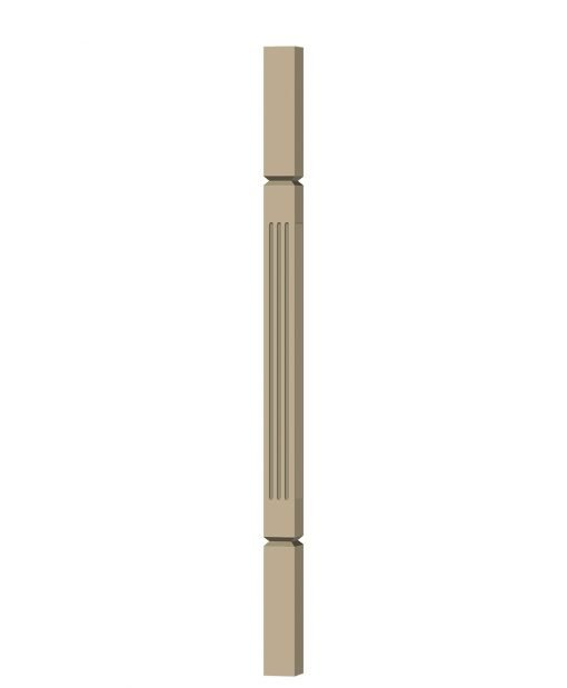 "LJF-5360V: 1 3/4"" Square Fluted and V-Groove Baluster (3D CAD Rendering)"