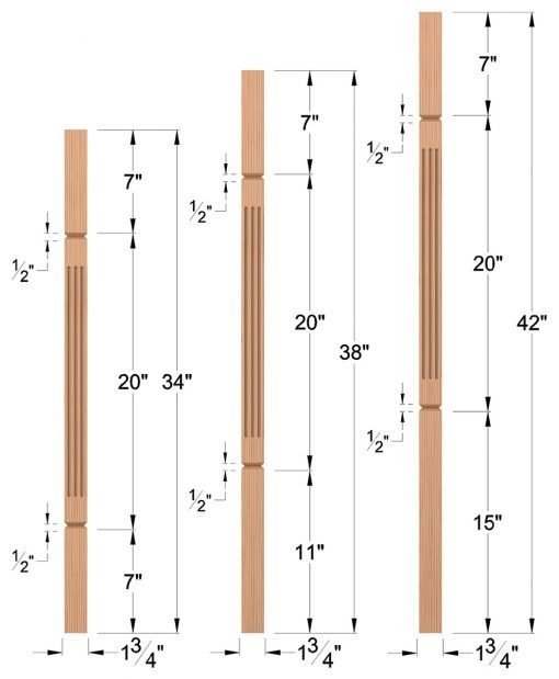"LJF-5360V: 1 3/4"" Square Fluted and V-Groove Baluster Dimensions"