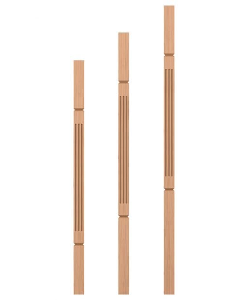 "LJF-5360V: 1 3/4"" Square Fluted and V-Groove Baluster"