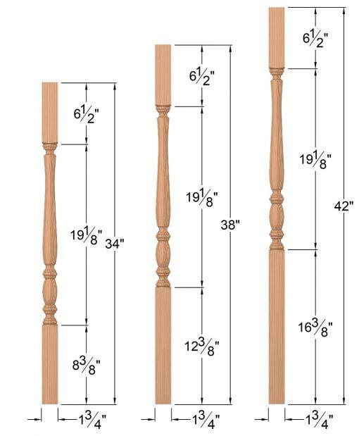 LJP-2105: : Block-Top Baluster Dimensions