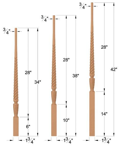 """LJT-2015: 1 3/4"""" Twist Taper-Top Baluster Dimensions"""