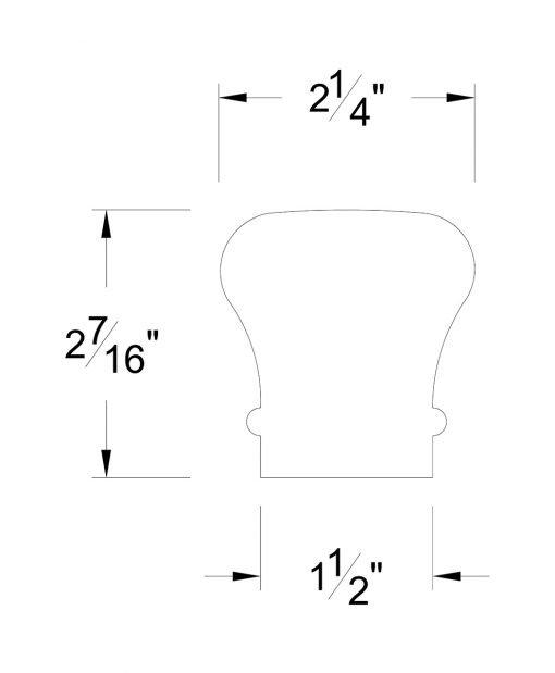 HF6010-B: Colonial Bending Handrail Dimensions