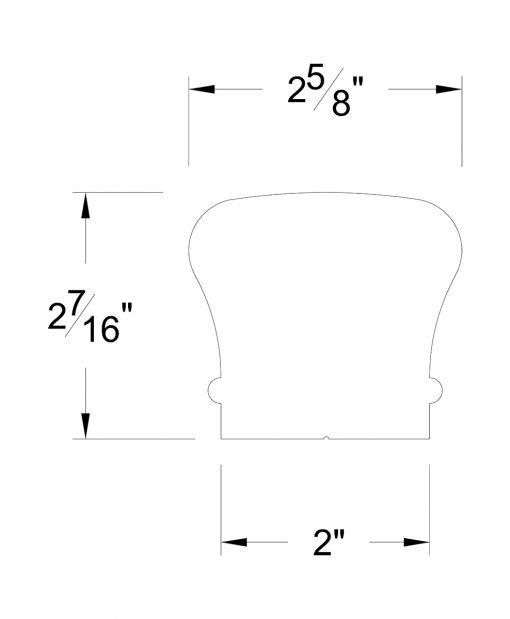 HF6210-B: Large Colonial Bending Handrail Dimensions