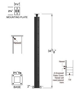 """CL-310-36: 2"""" x 34 3/8"""" Level Start/Stop Newel (10 Holes) Dimensions"""