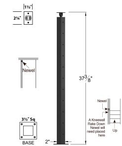 """CL-310-39: 2"""" x 37 3/8"""" Level Start/Stop Newel (11 Holes) Dimensions"""