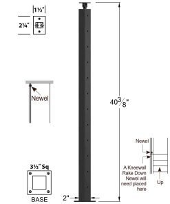 """CL-310-42: 2"""" x 40 3/8"""" Level Start/Stop Newel (12 Holes) Dimensions"""
