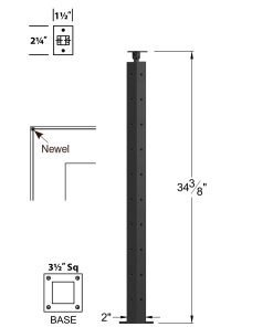 "CL-310C-36: 2"" x 34 3/8"" Level Corner Newel (10 Holes) Dimensions"