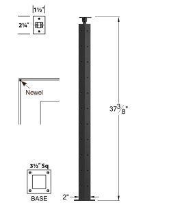 "CL-310C-39: 2"" x 37 3/8"" Level Corner Newel (11 Holes) Dimensions"