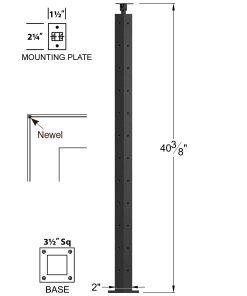 "CL-310C-42: 2"" x 40 3/8"" Level Corner Newel (12 Holes) Dimensions"
