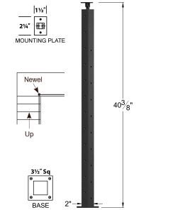"""CL-310D36L-42: 2"""" x 40 3/8"""" Level Down Left Transition 36"""" Rake to 42"""" Level Newel (10 & 12 Holes) Dimensions"""
