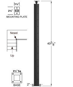 """CL-310D36R-42: 2"""" x 40 3/8"""" Level Down Right Transition 36"""" Rake to 42"""" Level Newel (10 & 12 Holes) Dimensions"""