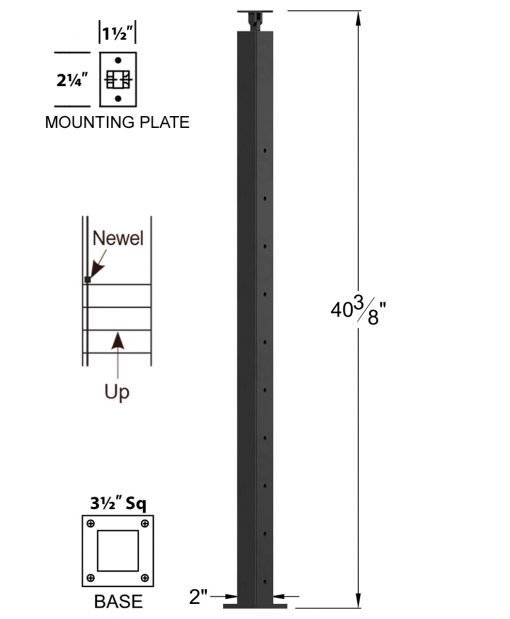 """CL-310D36S-42: 2"""" x 40 3/8"""" Level Down Straight Transition 36"""" Rake to 42"""" Level Newel (10 & 12 Holes) Dimensions"""