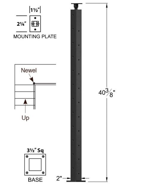 """CL-310D39L-42: 2"""" x 40 3/8"""" Level Down Left Transition 39"""" Rake to 42"""" Level Newel (11 & 12 Holes) Dimensions"""