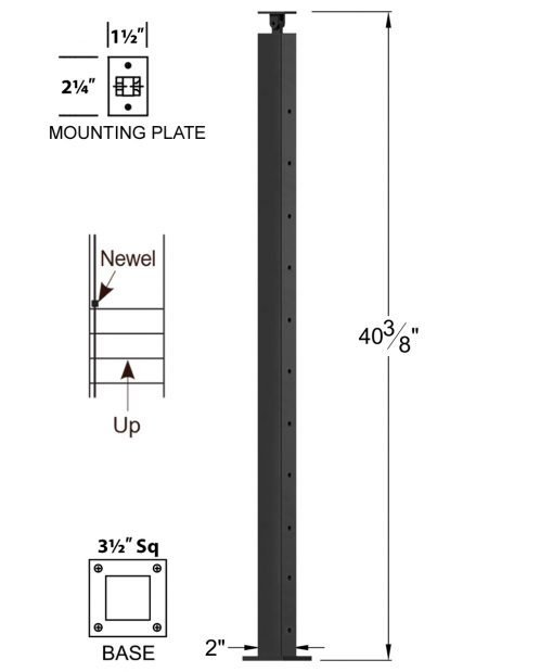 """CL-310D39S-42: 2"""" x 40 3/8"""" Level Down Straight Transition 39"""" Rake to 42"""" Level Newel (11 & 12 Holes) Dimensions"""