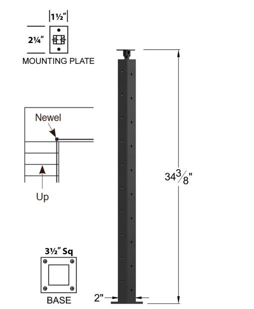 """CL-310DL-36: 2"""" x 34 3/8"""" Level Down Left Transition 36"""" Rake to 36"""" Level Newel (10 Holes) Dimensions"""