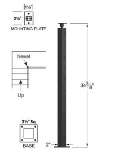 """CL-310DR-36: 2"""" x 34 3/8"""" Level Down Right Transition 36"""" Rake to 36"""" Level Newel (10 Holes) Dimensions"""
