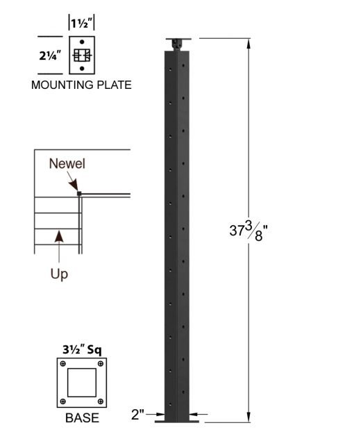 """CL-310DR-39: 2"""" x 37 3/8"""" Level Down Right Transition 36"""" Rake to 39"""" Level Newel (11 Holes) Dimensions"""