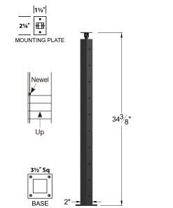"""CL-310DS-36: 2"""" x 34 3/8"""" Level Down Straight Transition 36"""" Rake to 36"""" Level Newel (10 Holes) Dimensions"""