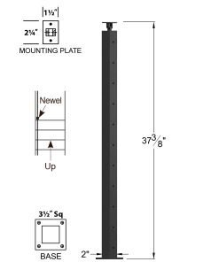 """CL-310DS-39: 2"""" x 37 3/8"""" Level Down Straight Transition 36"""" Rake to 39"""" Level Newel (11 Holes) Dimensions"""