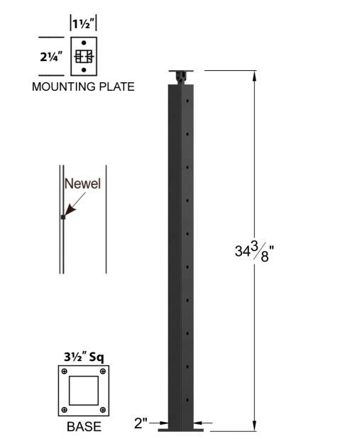 "CL-320-36: 2"" x 34 3/8"" Level Pass Through Newel (10 Holes) Dimensions"