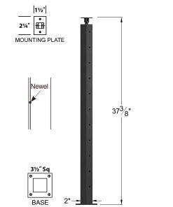 "CL-320-39: 2"" x 37 3/8"" Level Pass Through Newel (11 Holes) Dimensions"