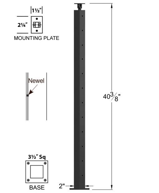 "CL-320-42: 2"" x 40 3/8"" Level Pass Through Newel (12 Holes) Dimensions"
