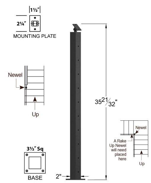 "CR-310D-36: 2"" x 35 21/32"" Rake Down Newel (10 Holes) Dimensions"