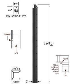 "CR-310D-39: 2"" x 38 21/32"" Rake Down Newel (11 Holes) Dimensions"