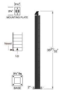 "CR-310U-36: 2"" x 35 21/32"" Rake Up Newel (10 Holes) Dimensions"
