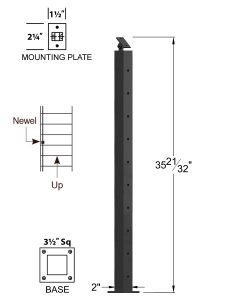 "CR-320-36: 2"" x 35 21/32"" Rake Pass Through Newel (10 Holes) Dimensions"