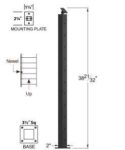 "CR-320-39: 2"" x 38 21/32"" Rake Pass Through Newel (11 Holes) Dimensions"