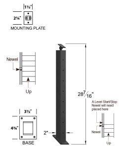 "CR-KW310D-36: 2"" x 28 7/16"" Rake Down Kneewall Newel (8 Holes) Dimensions"
