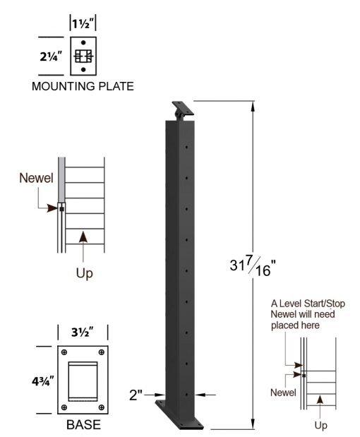 "CR-KW310D-39: 2"" x 31 7/16"" Rake Down Kneewall Newel (9 Holes) Dimensions"