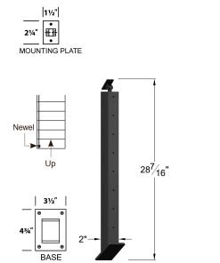 "CR-KW310U-36: 2"" x 28 7/16"" Rake Up Kneewall Newel (8 Holes) Dimensions"