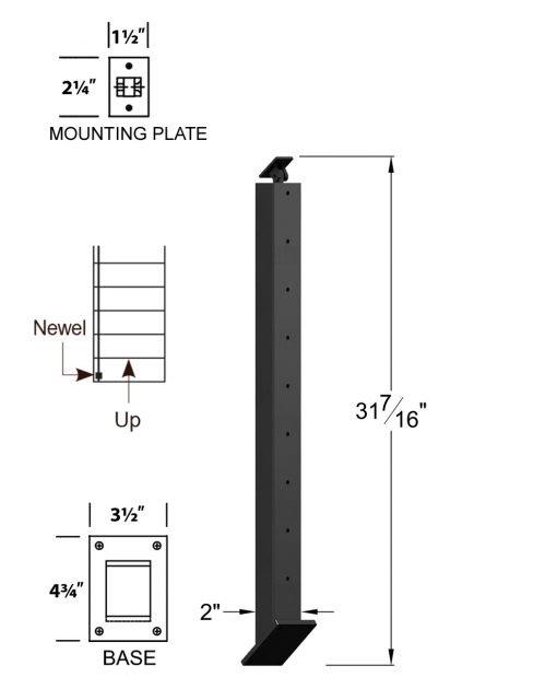 "CR-KW310U-39: 2"" x 31 7/16"" Rake Up Kneewall Newel (9 Holes) Dimensions"