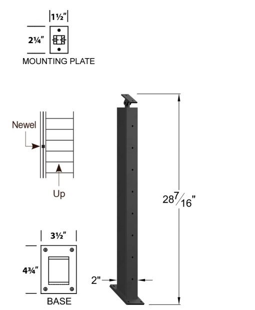"CR-KW320-36: 2"" x 28 7/16"" Rake Pass Through Kneewall Newel (8 Holes) Dimensions"