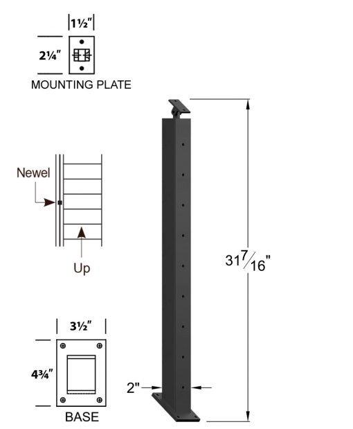 "CR-KW320-39: 2"" x 31 7/16"" Rake Pass Through Kneewall Newel (9 Holes) Dimensions"