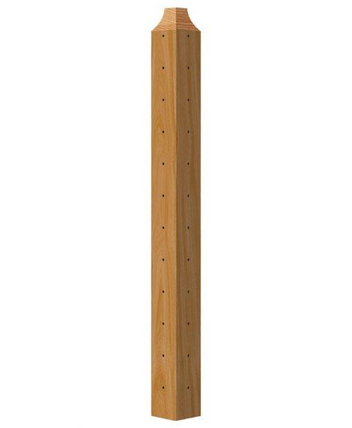 "CL-410C-42: 3 1/2"" x 40 3/8"" Level Corner Wood Newel Post (12 Holes)"