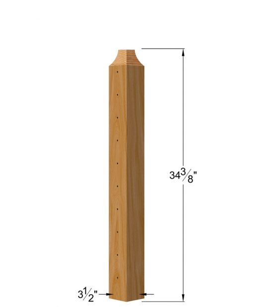"""CL-420-36: 3 1/2"""" x 34 3/8"""" Level Pass Through Wood Newel Post (10 Holes) Dimensions"""