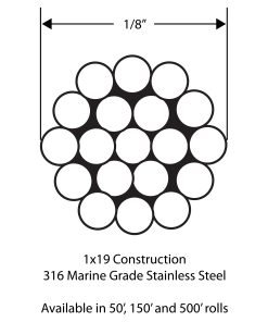 """CABLE-SS: 1/8"""" 316 Marine Grade Stainless Steel 1x19 Cable Drawing"""