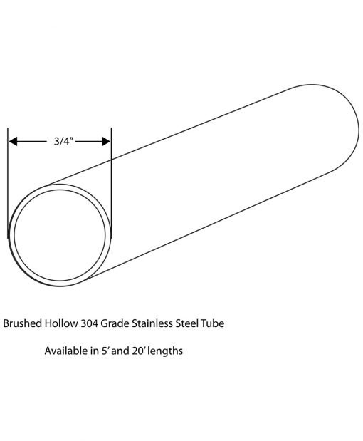 """TUBE-SS: 304 Grade Brushed Stainless Steel 3/4"""" Tube Drawing"""