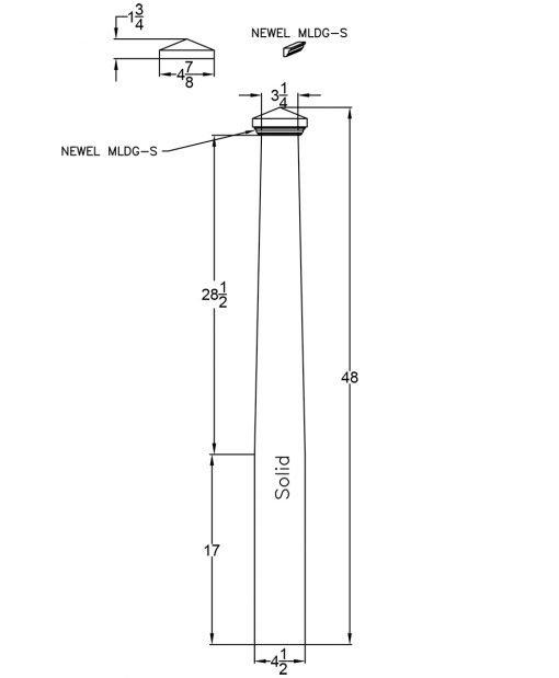 """LJ-4000TP-4.5: 4 1/2"""" Tapered Box Newel Post Drawing"""
