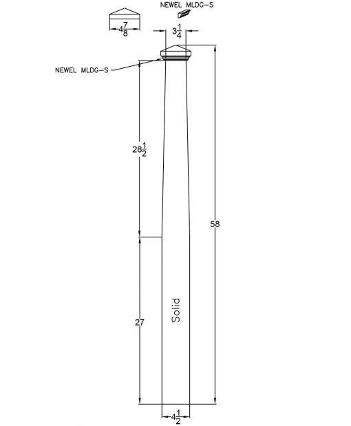 """LJ-4001TP-4.5: 4 1/2"""" Tapered Box Newel Post Drawing"""