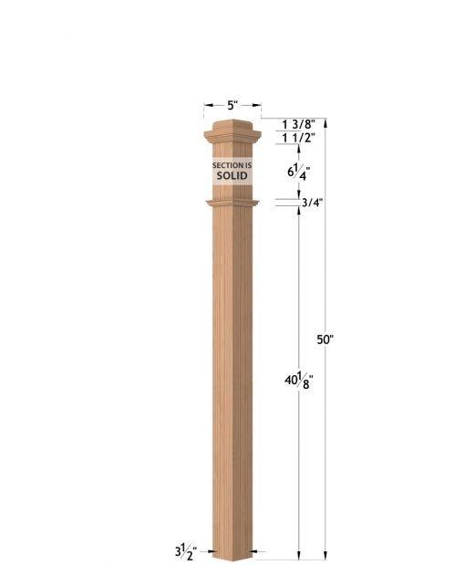 "LJ-4075-50: 3 1/2"" Box Newel Post Dimensions"
