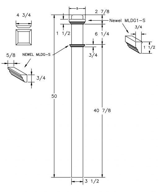 "LJ-4075-50: 3 1/2"" Box Newel Post Drawing"
