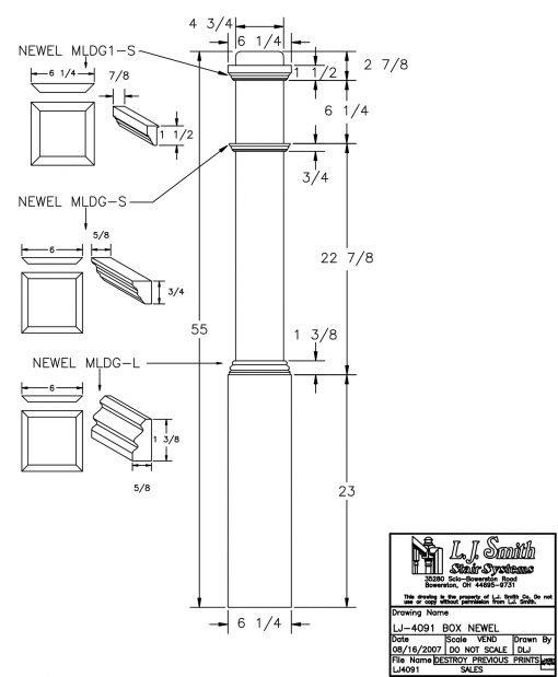 "LJ-4091: 6 1/4"" Box Newel Post Drawing"