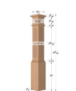 "LJ-4093: 7 1/2"" Fluted Box Newel Post Dimensions"
