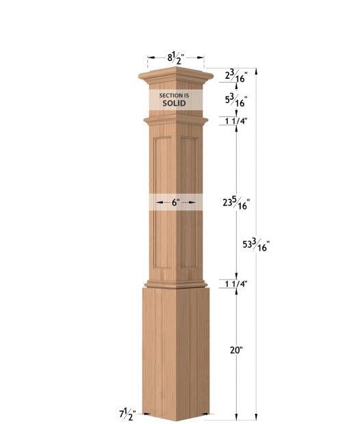 "LJ-4094: 7 1/2"" Recessed Panel Box Newel Post Dimensions"